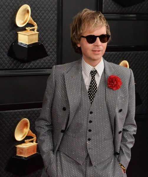 Beck arrives for the 62nd annual Grammy Awards held at Staples Center in Los Angeles on January 26. The singer turns 50 on July 8. File Photo by Jim Ruymen/UPI