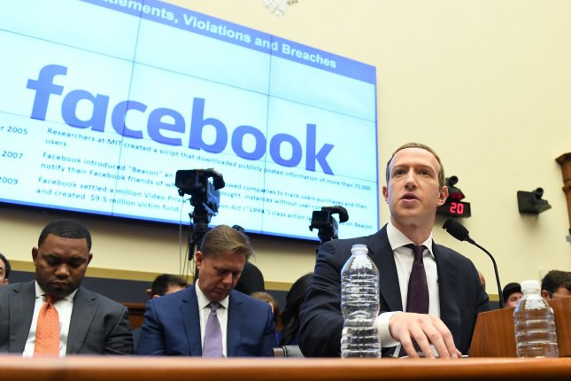 Facebook CEO Mark Zuckerberg testifies before the House financial services committee October 23, 2019. On Wednesday, a pair of lawsuits accused the company of anticompetitive conduct. File Photo by Pat Benic/UPI
