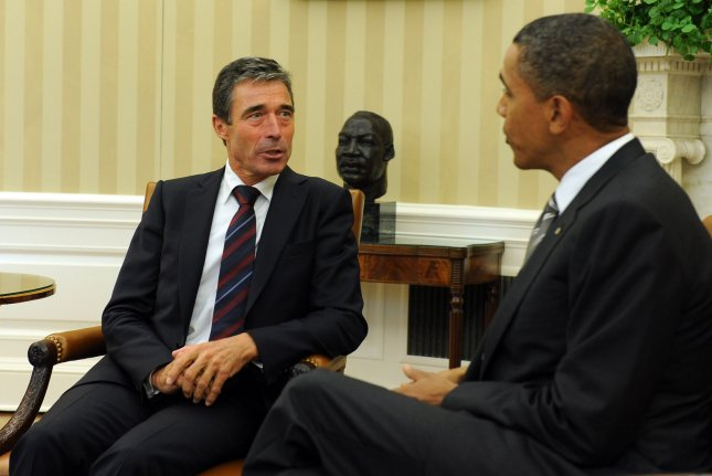 U.S. President Barack Obama meets with NATO Secretary General Anders Fogh Rasmussen in the Oval Office of the White House in Washington on September 7, 2010. UPI/Roger L. Wollenberg