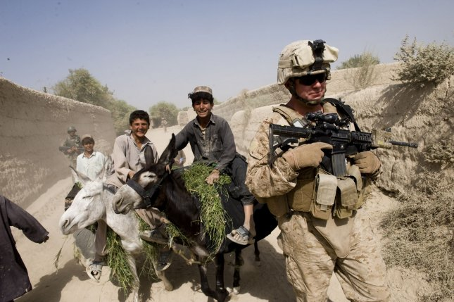 U.S. Marines participate in a security patrol in Gorgak district of Helmand province of Afghanistan on August 25, 2010. UPI/Hossein Fatemi