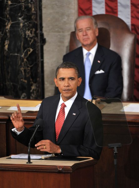 President Barack Obama delivers a speech on healthcare reform before a joint session of Congress at the U.S. Capitol Building in Washington on September 9, 2009. Seated behind Obama was Vice President Joe Biden. UPI/Kevin Dietsch
