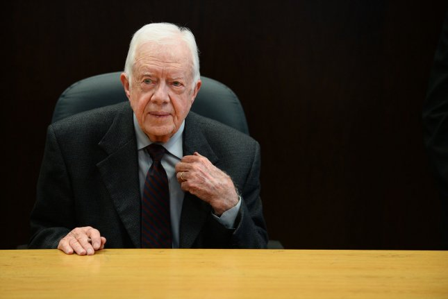 Former U.S. President Jimmy Carter co-authored an op-ed condemning Israel's military actions and asking the U.S. to recognize Hamas as a political body. UPI/Jim Ruymen