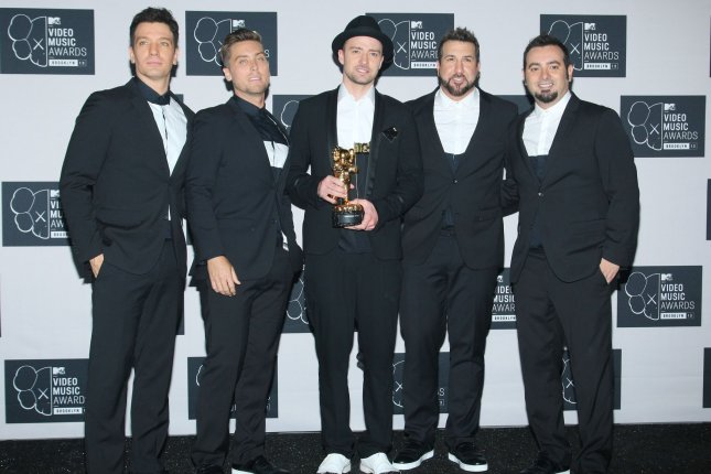 JC Chasez, Lance Bass, Justin Timberlake, Joey Fatone and Chris Kirkpatrick (L-R) of 'N Sync at the MTV Video Music Awards on August 25, 2013. File Photo by Monika Graff/UPI