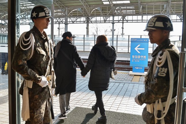 South Korean soldiers stand guard at the Dorasan Station in the Civilian Control area near the demilitarized zone (DMZ) in Paju, South Korea on February 12, 2017. The United States, Japan and South Korea agreed to coordinate defense efforts, according to Yonhap. Photo by Keizo Mori/UPI