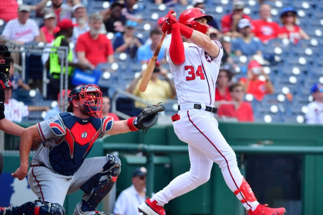 Former Washington Nationals slugger Bryce Harper met with the San Francisco Giants for a second time Tuesday. File Photo by Kevin Dietsch/UPI