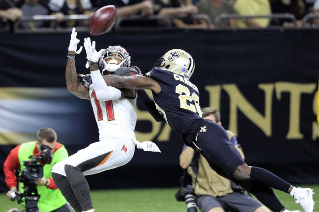 Tampa Bay Buccaneers wide receiver DeSean Jackson (11) has one year remaining on his contract, but his salary for 2019 is not guaranteed. Jackson has been linked to a return to the Philadelphia Eagles, where he spent six seasons. File Photo by AJ Sisco/UPI
