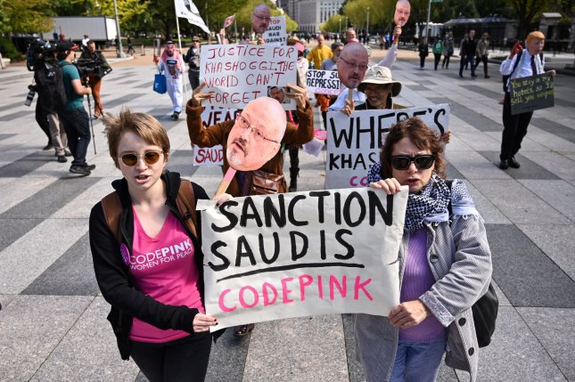 Members of the activist group Code Pink demonstrate outside the White House on October 19, 2018, to call attention to the disappearance and death of Saudi Arabia journalist Jamal Khashoggi. File Photo by Kevin Dietsch/UPI