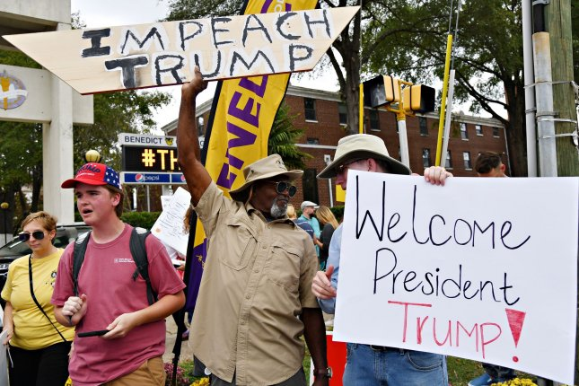Anti-Trump protesters face off against pro-Trump supporters Friday outside Benedict College in Columbia, S.C., where the president was addressing a justice forum. Photo by Richard Ellis/UPI