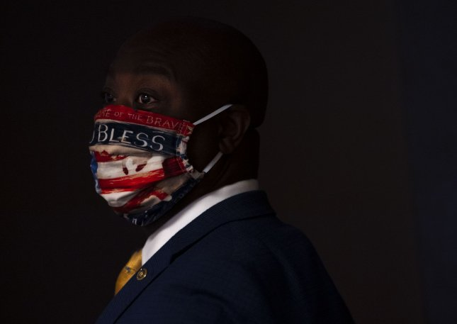 Sen. Tim Scott leaves the Republican weekly luncheon on Capitol Hill in Washington, D.C., on  June 2. Photo by Kevin Dietsch/UPI