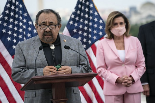 Rep. Raul M. Grijalva, D-Ariz., said Saturday that he has contracted COVID-19. (R) Speaker of the House Nancy Pelosi, D-Calif., has mandated the use of masks at the Capitol. File Photo by Sarah Silbiger/UPI
