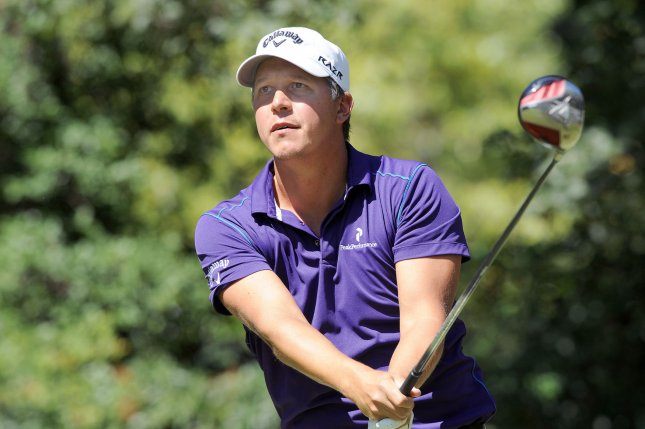 Fredrik Jacobson, shown while playing in in the Tour Championship in September, has taken the lead after Friday's play at the WGC-HSBC Champions event in Shanghai. UPI/Erik S. Lesser