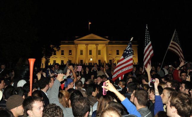 Thousands celebrate the news that Al-Qaida terror leader Osama bin Laden is dead in front of the White House in Washington, DC, on May 1, 2011. At 11.35 tonight President Obama announced the United States has conducted an operation that killed Osama bin Laden, the leader of al Qaeda, and a terrorist who's responsible for the murder of thousands of innocent men, women, and children. UPI/Roger L. Wollenberg