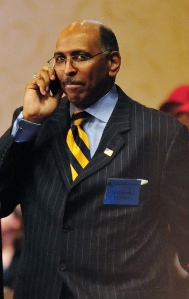 Former Maryland Lieutenant Gov. Michael Steele speaks on his cell phone between voting before the Republican National Committee (RNC) elected him Chairman of the RNC in Washington on January 30, 2009. Steele is the first African-American man to be elected as RNC Chairman, defeating incumbent Chairman Mike Duncan and 3 other challengers in 6 rounds of voting. (UPI Photo/Alexis C. Glenn)