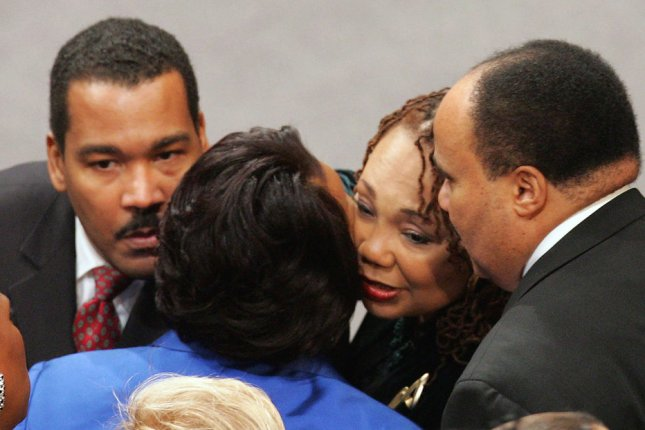 Children of Coretta Scott King (L-R), Dexter Scott King, Rev. Bernice King, Yolanda King and Martin Luther King III. (UPI Photo/Ric Feld/POOL)