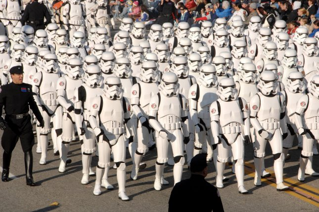 Star Wars Storm Troopers, a fan-based group known as the 501st Legion from 22 different countries and 26 U.S. states, march down Colorado Boulevard in the 118th Rose Parade in Pasadena, Calif., in 2007. File Photo by Jim Ruymen/UPI