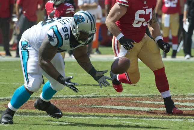 Carolina Panthers defensive lineman Star Lotulelei (98) zeros in on a fumble by former San Francisco 49ers quarterback Brian Hoyer in the first quarter on September 10, 2017 at Levi's Stadium in Santa Clara, California. File photo by Terry Schmitt/UPI