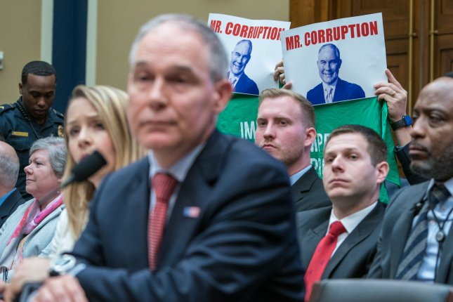 Environmental Protection Agency Administrator Scott Pruitt testifies before the Environment Subcommittee on in Washington, D.C. on Thursday. The EPA inspector general announced on Friday announced an investigation has been opened into ethical scandals allegedly committed by Pruitt. Photo by Ken Cedeno/UPI