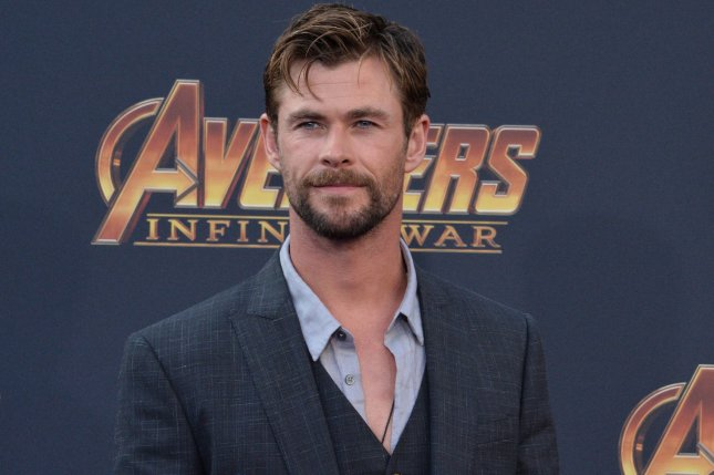Chris Hemsworth is seen posing with his Men in Black co-star Tessa Thompson in a selfie posted onto social media. File Photo by Jim Ruymen/UPI.