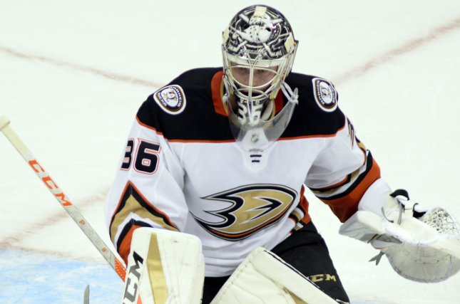 John Gibson and the Anaheim Ducks face off against the Toronto Maple Leafs on Friday. Photo by Archie Carpenter/UPI
