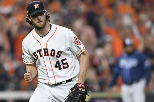 All-Star pitcher Gerrit Cole led the American League with a 2.50 ERA and led Major League Baseball with 326 strikeouts while pitching for the Houston Astros in 2019. Photo by Trask Smith/UPI