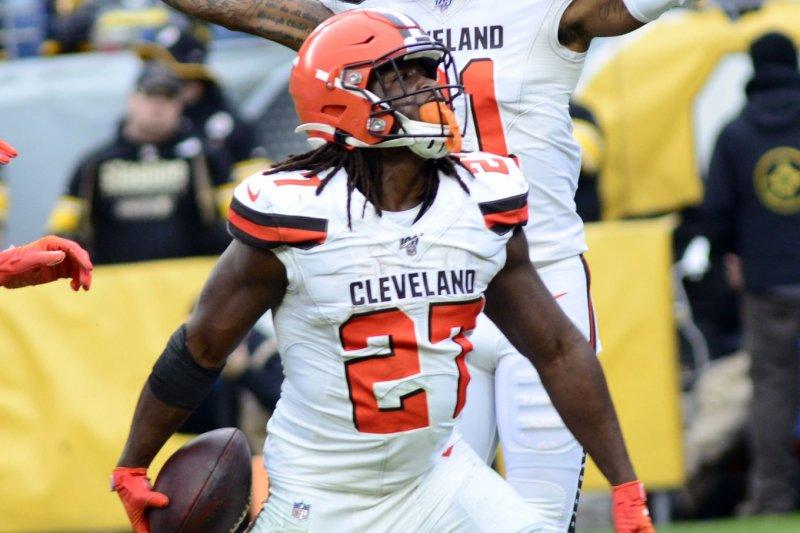 Cleveland Browns running back Kareem Hunt should post solid fantasy football statistics in Week 7 against the Cincinnati Bengals. File Photo by Archie Carpenter/UPI