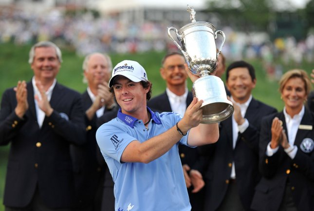 Rory McIlroy, shown with his U.S. Open Championship trophy, adding the Hong Kong Open title to his resume Sunday. McIlroy shot 5-under-par 65 Sunday and won the tournament by two strokes. UPI/Kevin Dietsch
