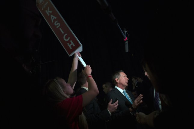 Republican presidential candidate John Kasich told an audience member to get over his proposed reforms to Social Security at an event in New Hampshire on Oct. 9, 2015. Here, Kasich speaks to the media at the first Republican Presidential Debate in Cleveland, Ohio on August 6, 2015. Photo by Kevin Dietsch/UPI