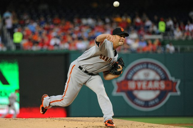 San Francisco Giants starting pitcher Ryan Vogelsong (32) pitches against the Washington Nationals in the first inning at Nationals Park in Washington, D.C. on July 5, 2015. Photo by Mark Goldman/UPI