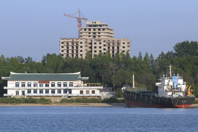 New buildings are being built in the North Korean city Sinuiju, across the Yalu River from Dandong, China's largest border city with North Korea. Blacklisted North Korean ships have been recently sighted near South Korean waters. Photo by Stephen Shaver/UPI