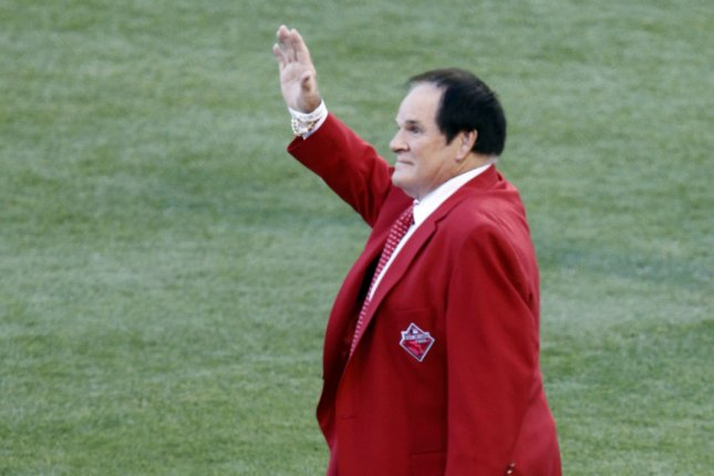 Former Cincinnati Reds player Pete Rose waves to the crowd before the start of the 86th All-Star Game at Great American Ball Park in Cincinnati, Ohio on July 14, 2015. File photo by John Sommers II/UPI