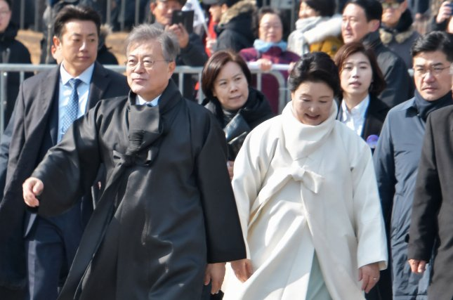 South Korean President Moon Jae-in (L) is keeping up the momentum of inter-Korea detente with a decision to send a special envoy to North Korea next week. Photo by Keizo Mori/UPI