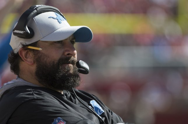 Detroit Lions coach Matt Patricia watches from the sidelines during a game against the San Francisco 49ers at Levi's Stadium in Santa Clara, California on September 16, 2018. The 49ers defeated the Lions 30-27. Photo by Terry Schmitt/UPI