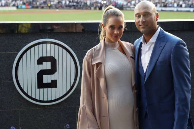 Derek and Hannah Jeter are now the parents of two daughters after the couple welcomed Story Grey this week. Pool photo by Elsa/UPI