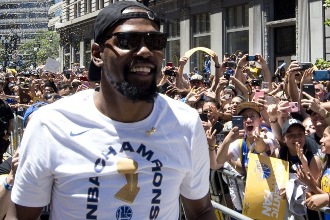 Golden State Warriors star Kevin Durant criticized reporters for repeated questions about free agency following a win against the San Antonio Spurs on Wednesday in Oakland. File Photo by Terry Schmitt/UPI