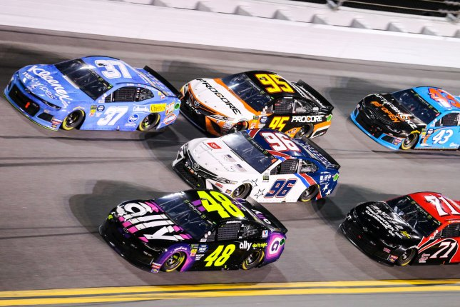 Jimmie Johnson (48) and Chris Buescher (37) will start in the No. 17 and No. 15 spots, respectively, in the 2019 Daytona 500 on Sunday at Daytona International Speedway in Daytona Beach, Fla. File Photo by Mike Gentry/UPI