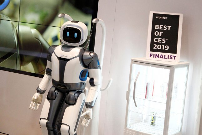 A view of a robot on display at the 2019 International Consumer Electronics Show in Las Vegas, Nevada, January 10. A Universal Basic Income program would support workers displaced by robots, but a recent Gallup survey showed that a slight majority of U.S. adults don't support such a program. File Photo by James Atoa/UPI
