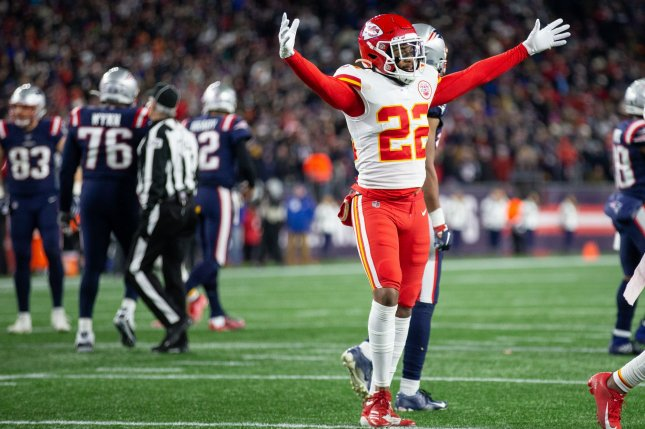 Kansas City Chiefs free safety Juan Thornhill (22) celebrates in the final minutes against the New England Patriots at Gillette Stadium in Foxborough, Mass., on Sunday. The Chiefs defeated the Patriots 23-16. Photo by Matthew Healey/UPI