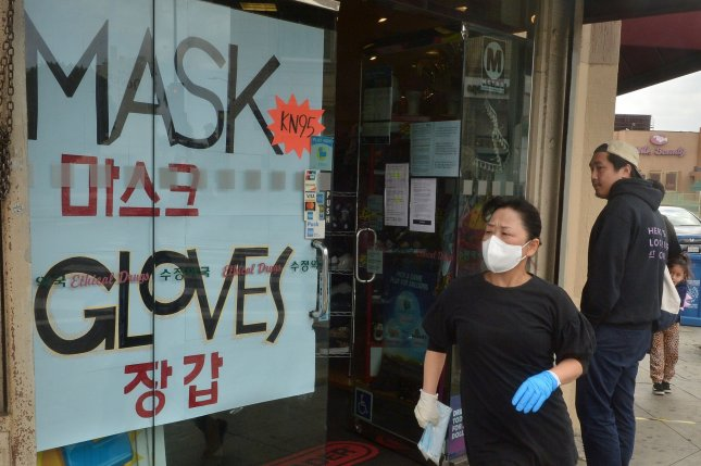 A drug store sells KN95 masks after the FDA allows imports from China amid PPE shortage in Los Angeles on April 2. Photo by Jim Ruymen/UPI