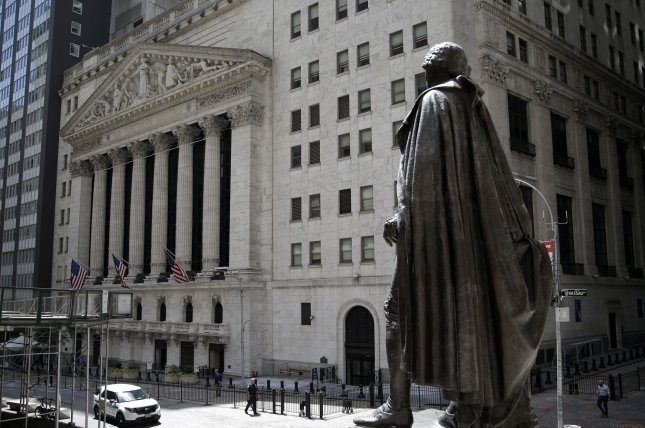 The Dow Jones Industrial Average fell 405 points Thursday as tech stocks faltered, while oil prices declined amid reports that U.S. crude inventories increased. File Photo by John Angelillo/UPI