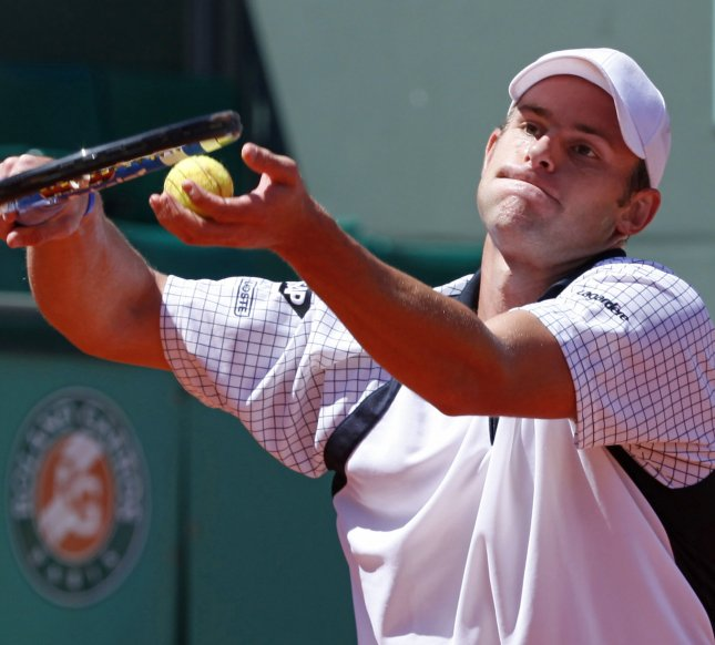 Andy Roddick, shown during the 2009 French Open, withdrew Monday from the United State's series against Croatia in Davis Cup play because of an injury he suffered Sunday in the Wimbledon final. (UPI Photo/ David Silpa)