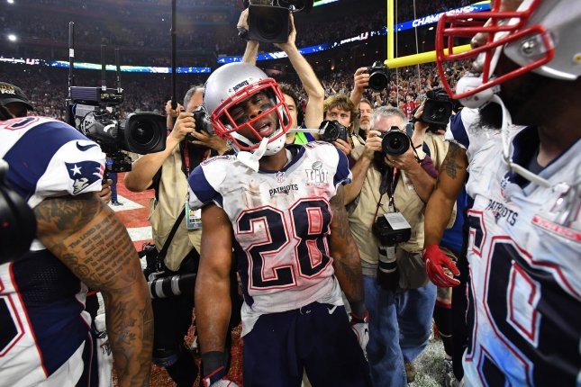 New England Patriots running back James White celebrates after scoring the game-winning touchdown on a 2-yard run in overtime of Super Bowl LI on February 5 at NRG Stadium in Houston. File Photo by Kevin Dietsch/UPI