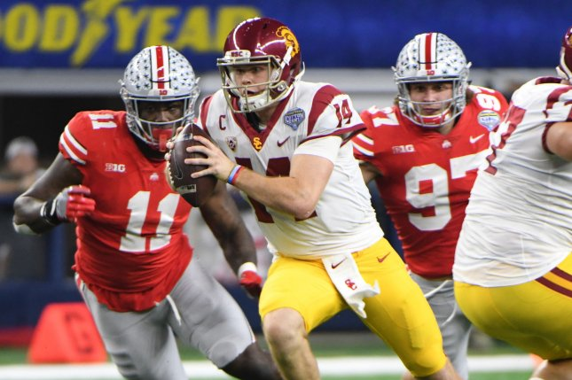 USC quarterback Sam Darnold rushes against Ohio State during the first half of the Goodyear Cotton Bowl Classic on December 29, 2017 at AT&T Stadium in Arlington, Texas. File photo by Ian Halperin/UPI