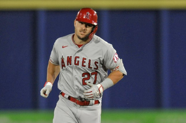 Los Angeles Angels outfielder Mike Trout, shown April 8, 2021, appeared to injure his calf during Monday's game against the Cleveland Indians. File Photo by Steven J. Nesius/UPI