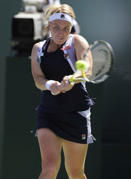 Russian player Svetlana Kuznetsova returns a backhand during her loss to Serbian player Ana Ivanovic in the women's final of the Pacific Life Open at Indian Wells Tennis Garden in Indian Wells, California on March 23, 2008. (UPI Photo/ Phil McCarten)