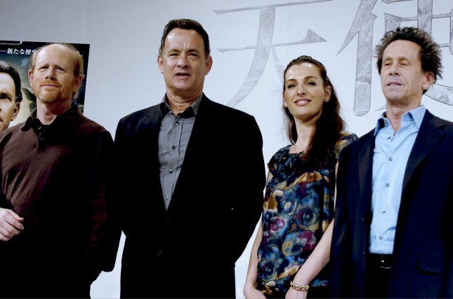 (L-R) Director Ron Howard and actor Tom Hanks, actress Ayelet Zurer, producer Brian Grazer attend a press conference for the film Angels & Demons in Tokyo, Japan, on May, 7, 2009. (UPI Photo/Keizo Mori)