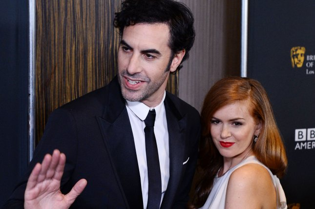Actor Sacha Baron Cohen and his wife, actress Isla Fisher, attend the BAFTA LA Britannia Awards in Beverly Hills on November 9, 2013. Photo by Jim Ruymen/UPI