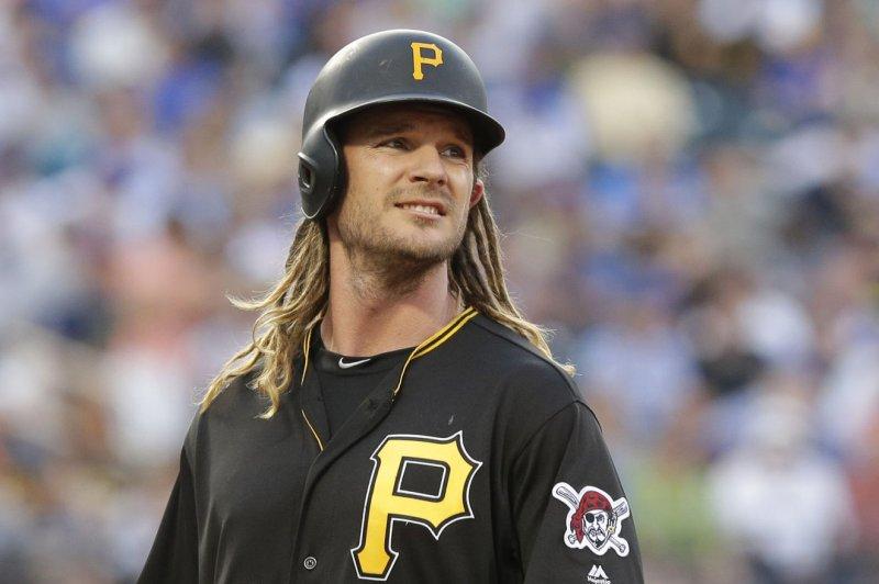 Pittsburgh Pirates' John Jaso smiles on first base. File photo by John Angelillo/UPI
