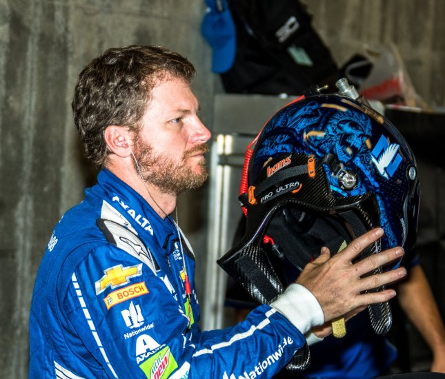 Dale Earnhardt Jr. get ready for practice for the 2017 Brickyard 400 last month in Indianapolis. Photo by Edwin Locke/UPI
