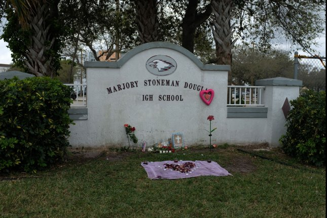Marjory Stoneman Douglas High School is pictured on February 19, five days after gunman Nikolas Cruz shot 17 people dead at the campus in Parkland, Fla. File Photo by Gary Rothstein/UPI