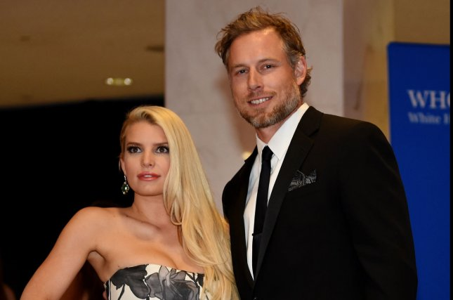 Jessica Simpson (L), pictured with Eric Johnson, hosted an extravagant Greatest Showman-themed bash for daughter Maxwell's sixth birthday. File Photo by Molly Riley/UPI